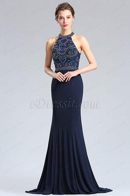 eDressit Sexy Blue  Halter Beaded Prom Evening Dress (36182705)