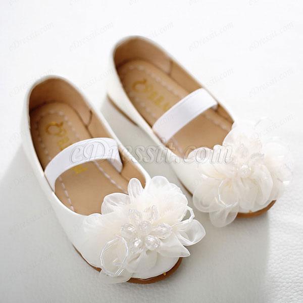 eDressit Girl's Round Toe Leather Flat Flower Dance Shoes (250010)