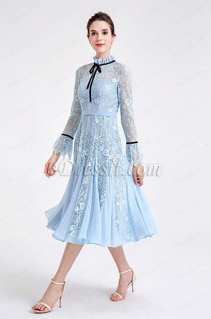 eDressit light Blue High Neck Lace Princess Party Dress (04190605)