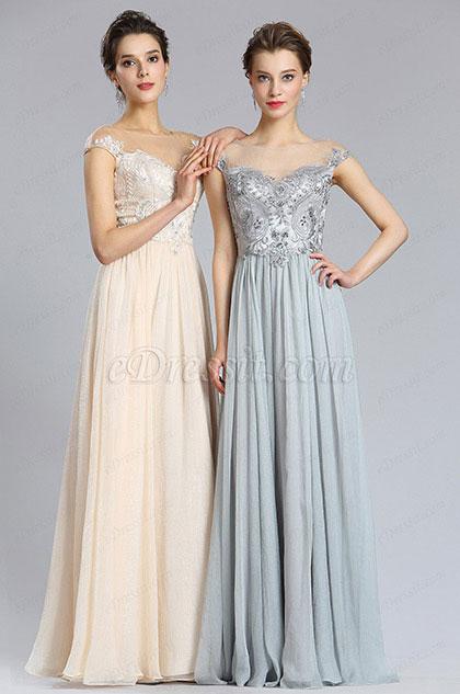 eDressit Elegant A Line Cap sleeve Grey Prom Evening Dress (00182908)
