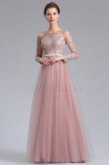eDressit Elegant Blush Lace Appliques Evening Dress (02182746)