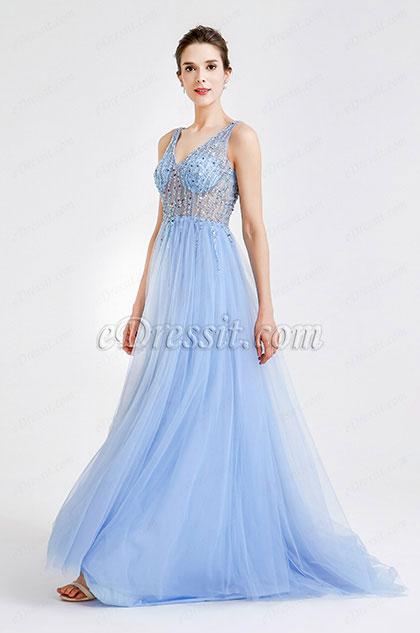 eDressit Blue Sparkly V Cut Beaded Women Evening Dresses (36180505)
