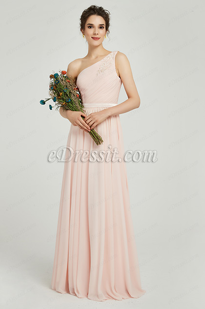 eDressit Elegant One Shoulder Pink Party Bridesmaid Dress (00191101)