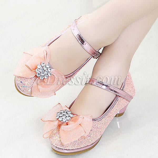 Girl's Lovely Sequin Round Toe Leather Flower Girl Shoes (250056)