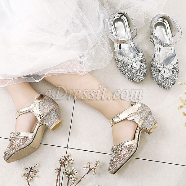 Girl's Round Toe Sequins & Beads Flower Dance Shoes (250047)