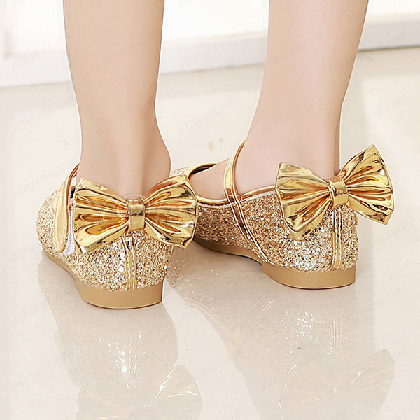 eDressit Girl's Round Toe Sequins Flat Flower Dance Shoes (250017)