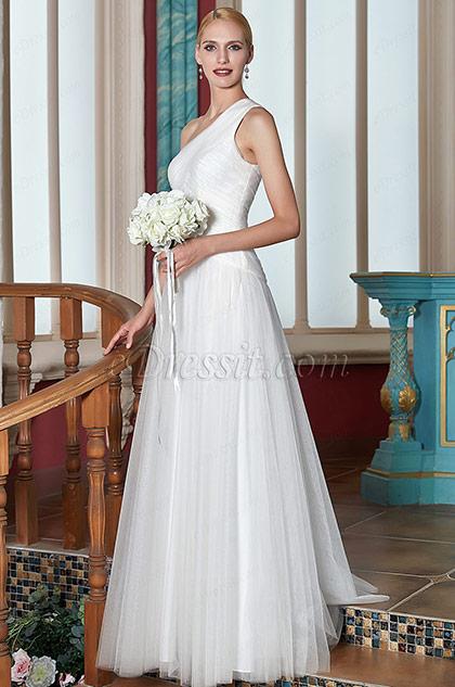 eDressit Newest White One Shoulder Wedding Party Dress(00200507)