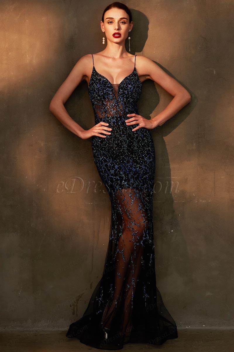 eDressit Blue Sparkle Beaded Halter V-Cut Evening Party Dress (00203305)