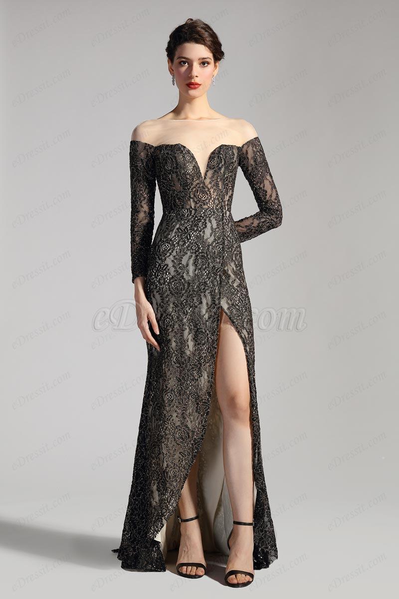 eDressit V Neckline Sleeves High Slit Prom Party Gown (26201300)