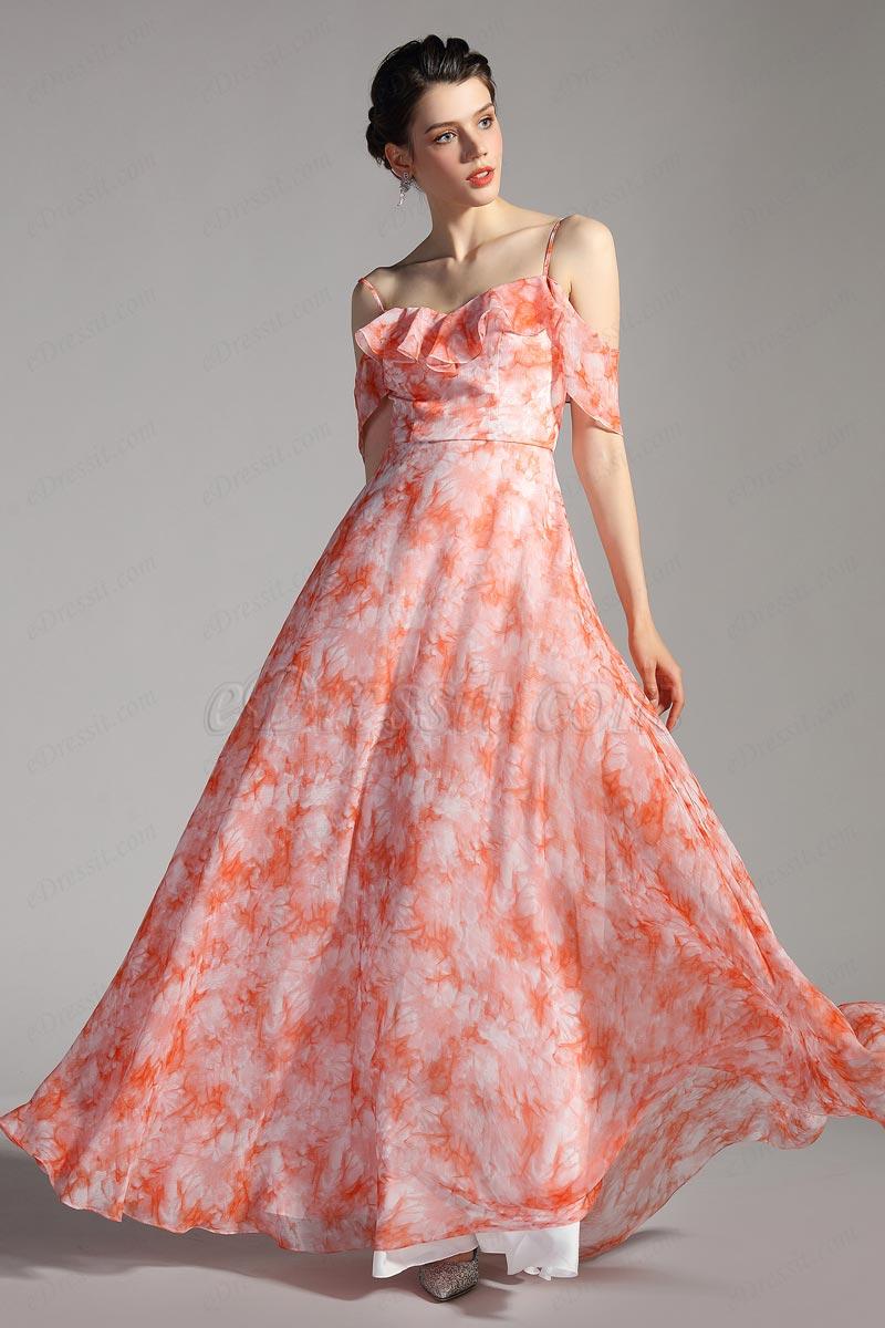eDressit Spaghetti Off  Shoulder Printed Summer Party Dress (00206968)