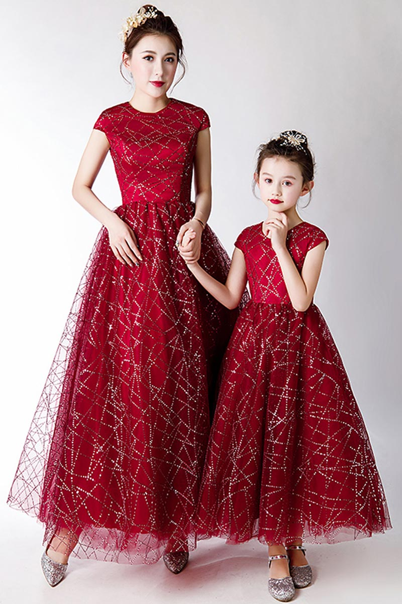 New Mommy and Me Matching Red Long Princess Dress (T400202)