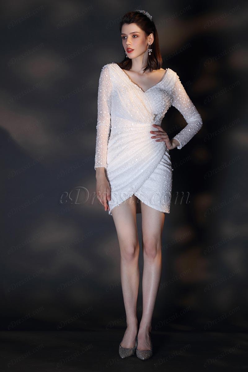 eDressit New White V-Cut Long Sleeves Short Party Dress (03200807)