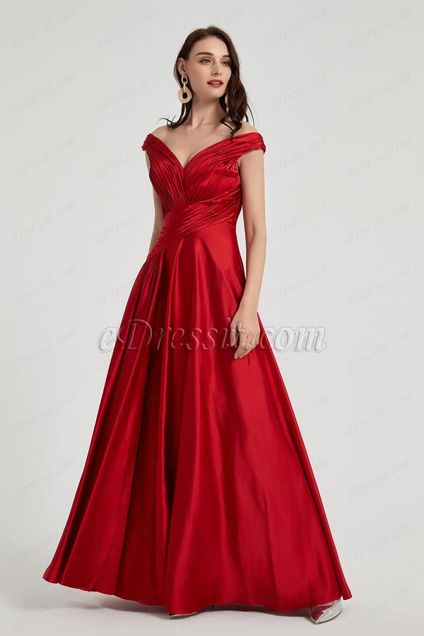 eDressit Sexy Red V-Cut Neck Pleated Elegant Top Party Ball Dress (00200402)