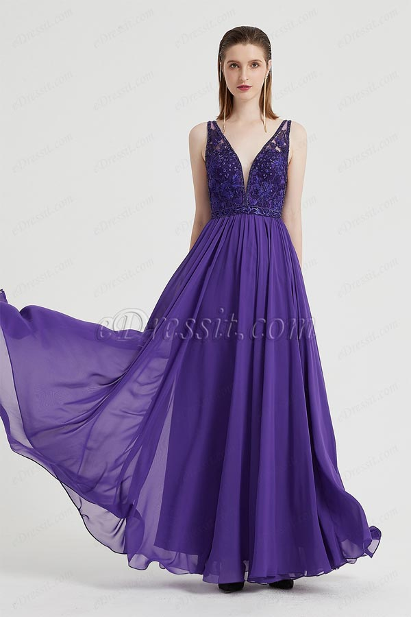 eDressit Sexy Purple V-Cut Beaded Embroidery Party Evening Dress (02201606)