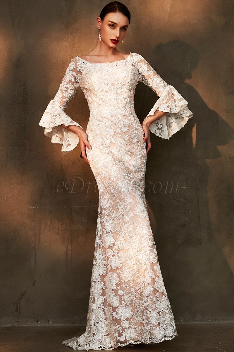 eDressit White Trumpet Sleeves Lace Applique Wedding Dress (01201007)