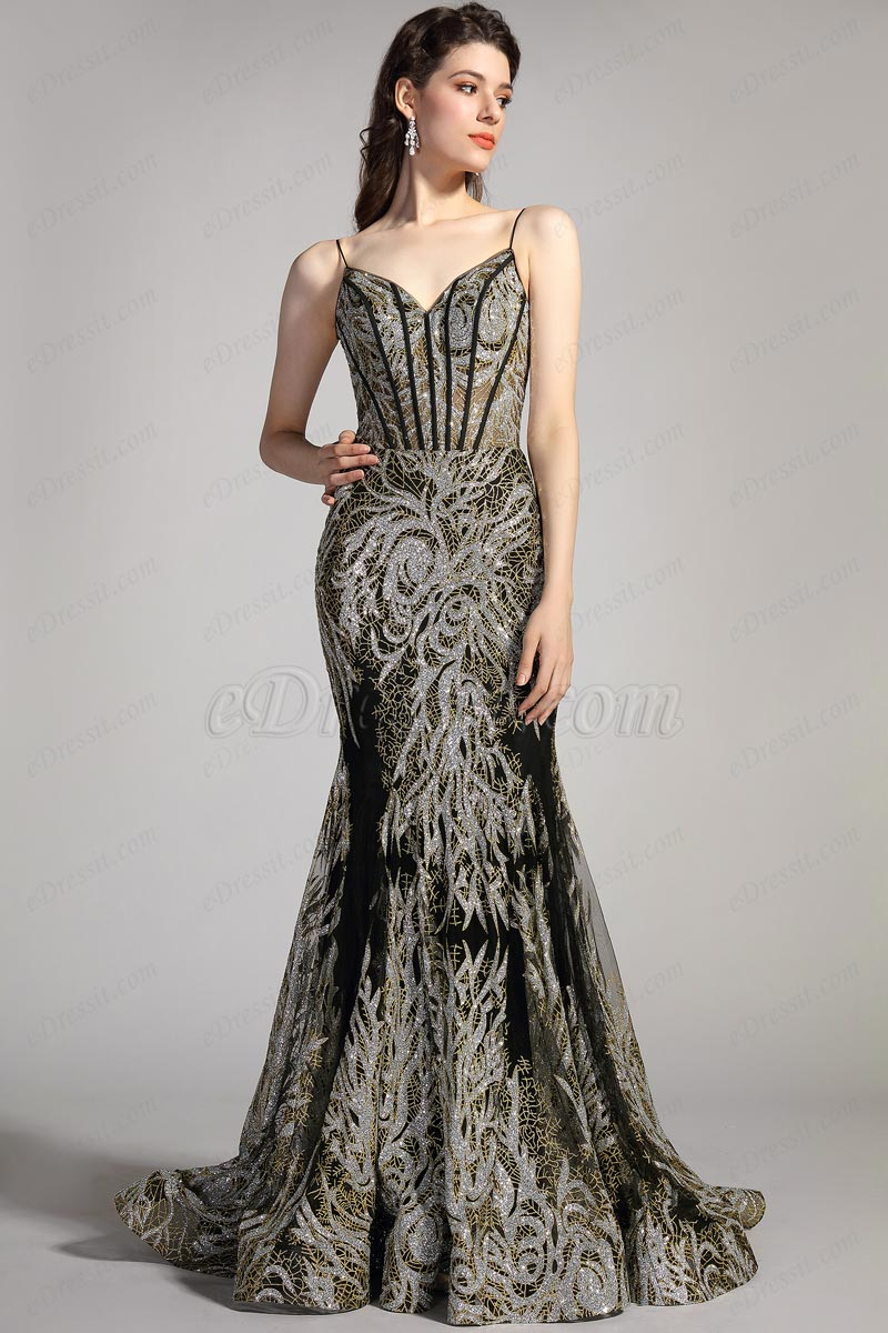 eDressit New Spaghetti V-Cut Shiny Lace Party Evening Dress (02206000)