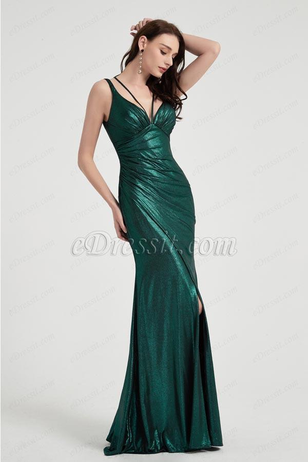 eDressit Green V-Cut Straps High Slit Party Evening Gown (00202904)