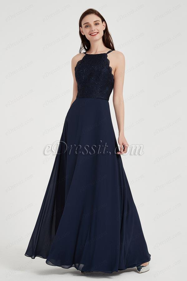 eDressit Sexy Chiffon Blue Halter Lace Edge Ball Prom Gown (00204205)
