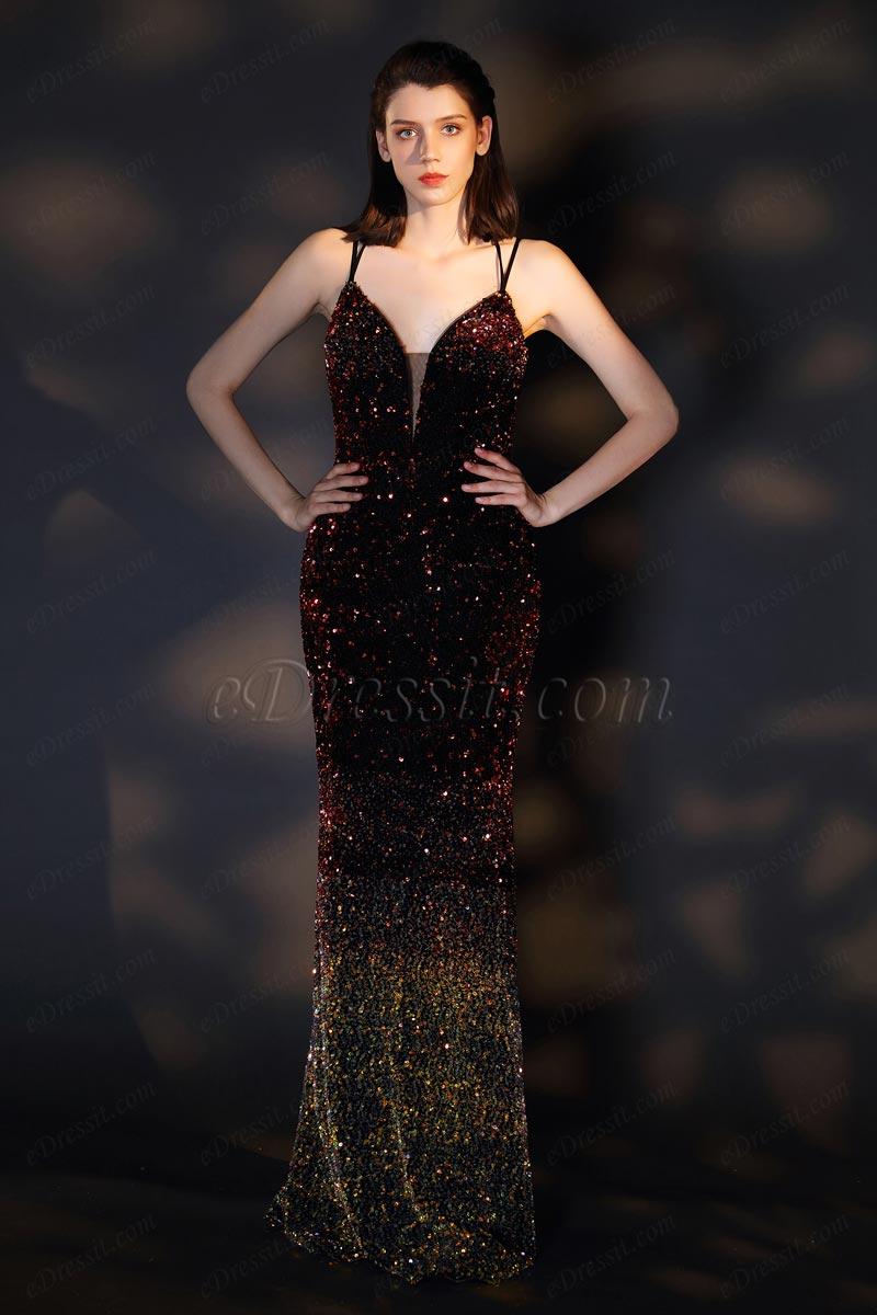 eDressit Sexy V-Cut Neckline Gradient Colour Sequins Party Dress (00201356)