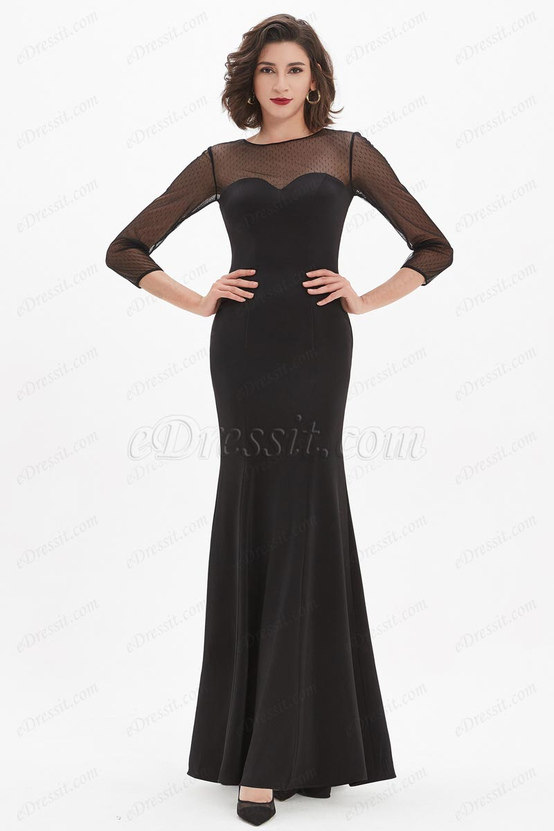 eDressit Black Illusion Bodice Long Sleeves Party Dress (26210700)