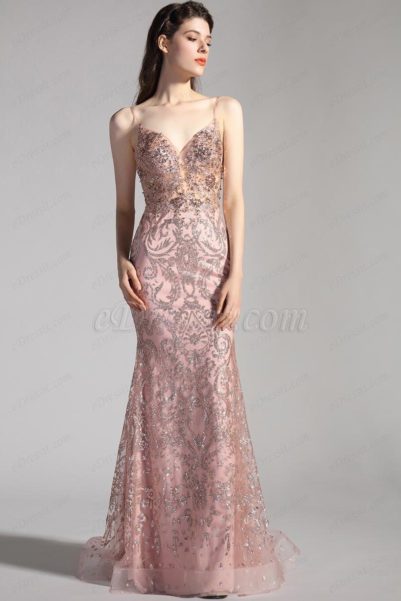 eDressit Spaghetti V-Cut Beaded Long Party Evening Dress (00208646)