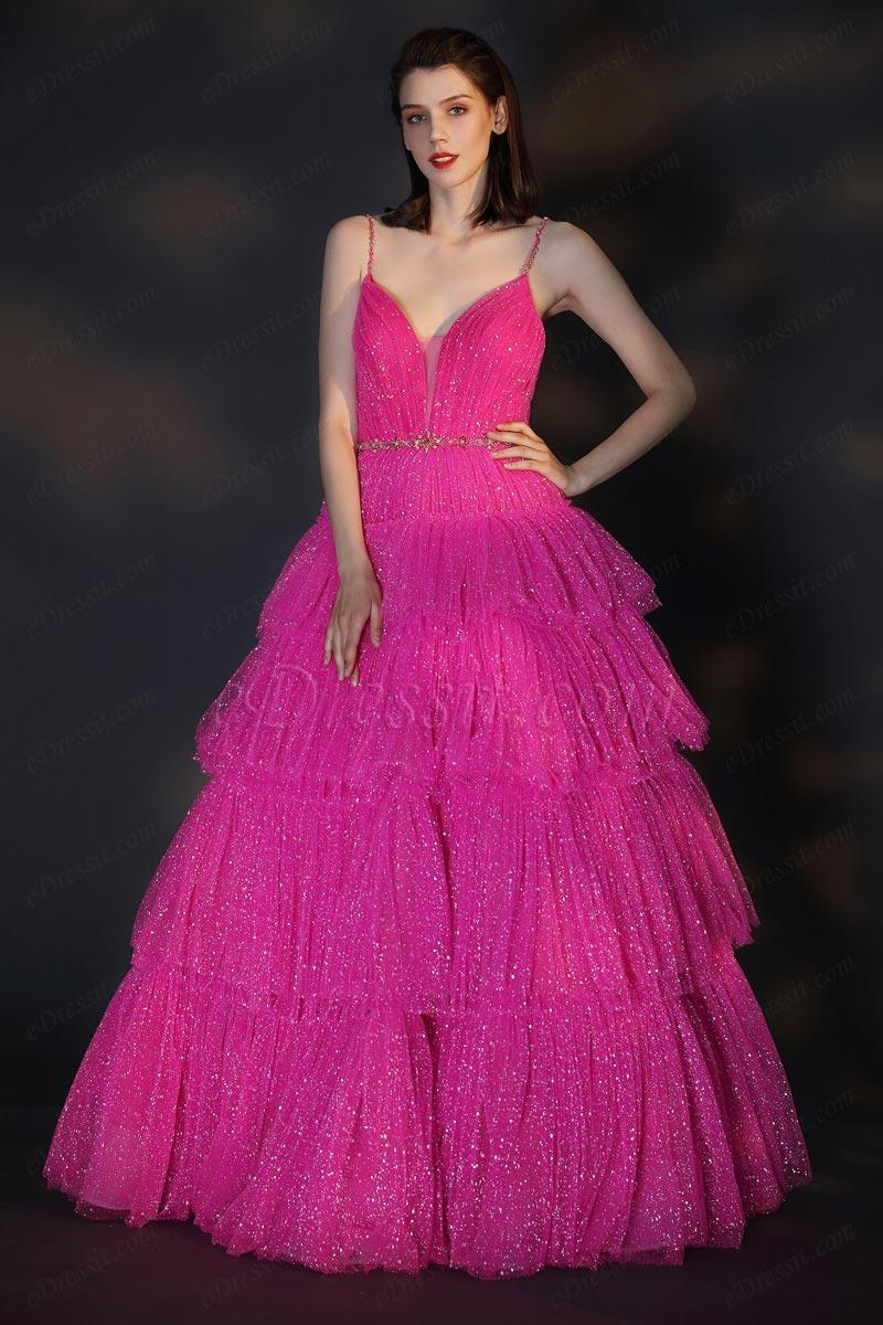 eDressit Shiny Blush V-Cut Open Back Party Cake Dress (02206412)