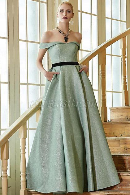 New Green Off Shoulder Elegant Party Ball Gown -eDressit (02201704)