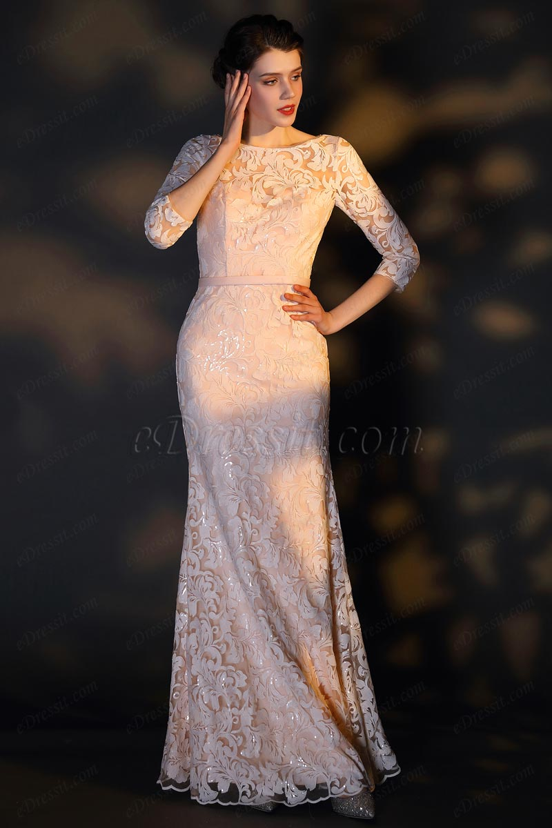 eDressit Light Orange Embroidery Lace Half Sleeves Party Evening Dress (26201610)