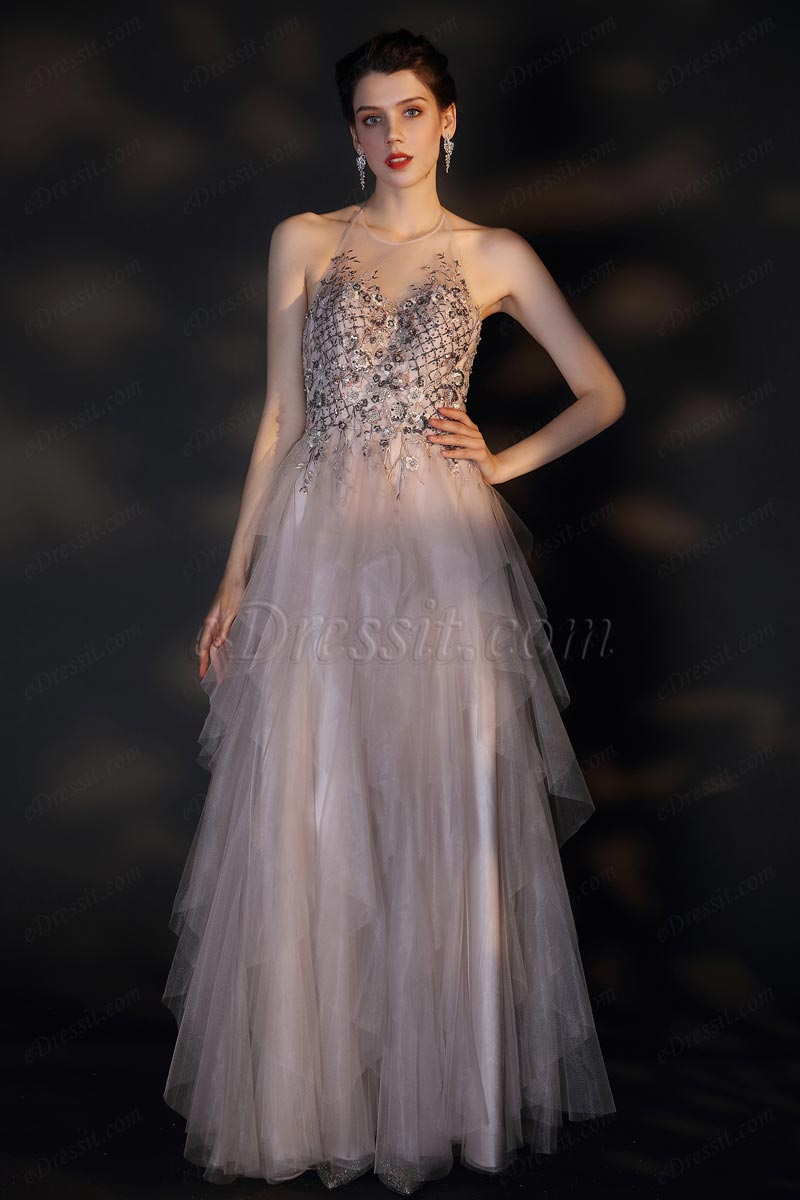 eDressit New Halter Open Back layers Tulle Party Dress (02205814)