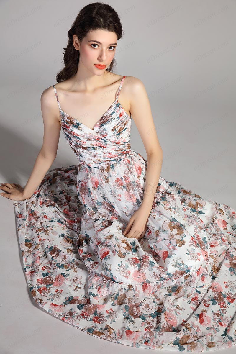 eDressit Spaghetti Straps Cross V-Cut Print Summer Party Dress (00207068)