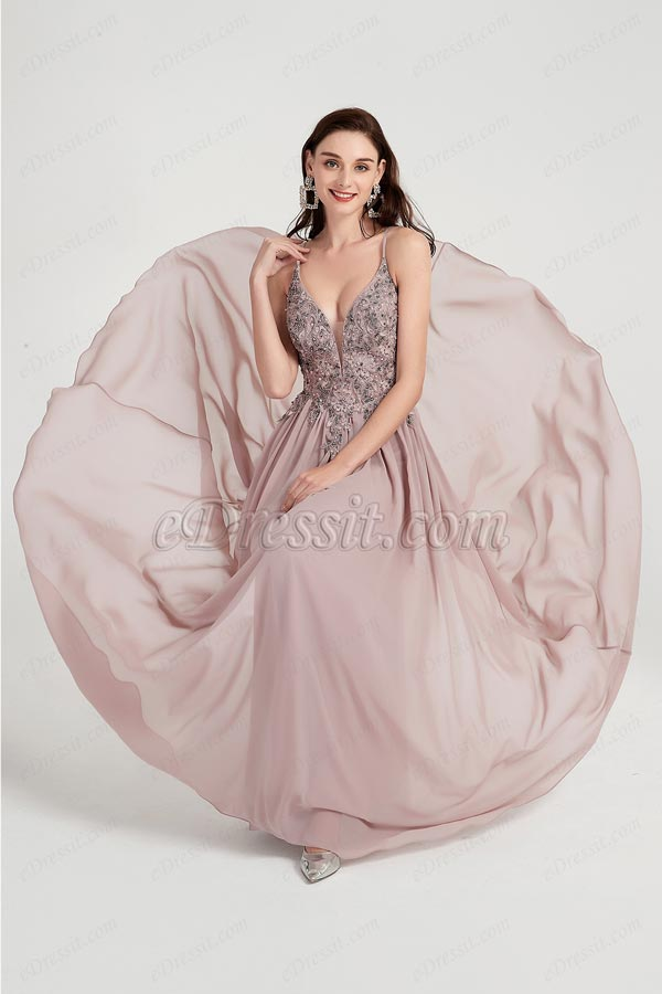 eDressit Sexy V-Cut Spaghetti Embroidery Party Evening Dress (00203246)