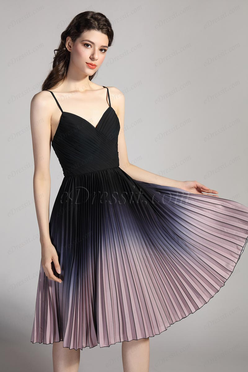 eDressit Spaghetti Straps Gradient colour Pleated Cocktail Dress (04201456)