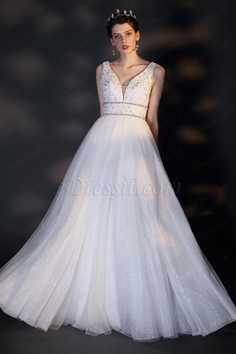 eDressit New V-Cut Embroidery Beads Shiny Wedding Bridal Dress (01202307)