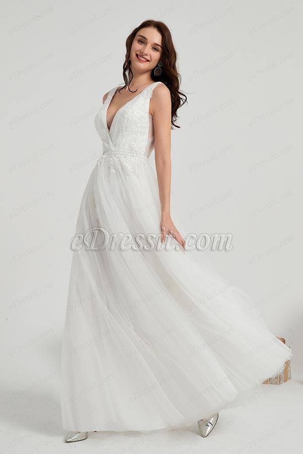 eDressit White Plung V-Cut Lace LongTulle Party Wedding Dress (01200307)