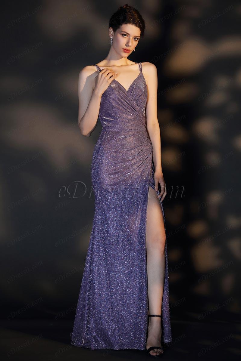 eDressit Sexy Spaghetti V-Cut High Slit Shiny Party Evening Dress (02204706)