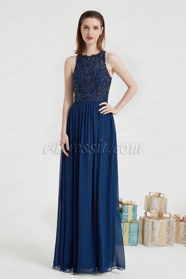 eDressit Navy Blue Embroidery Ball Prom Evening Dress (00203905)