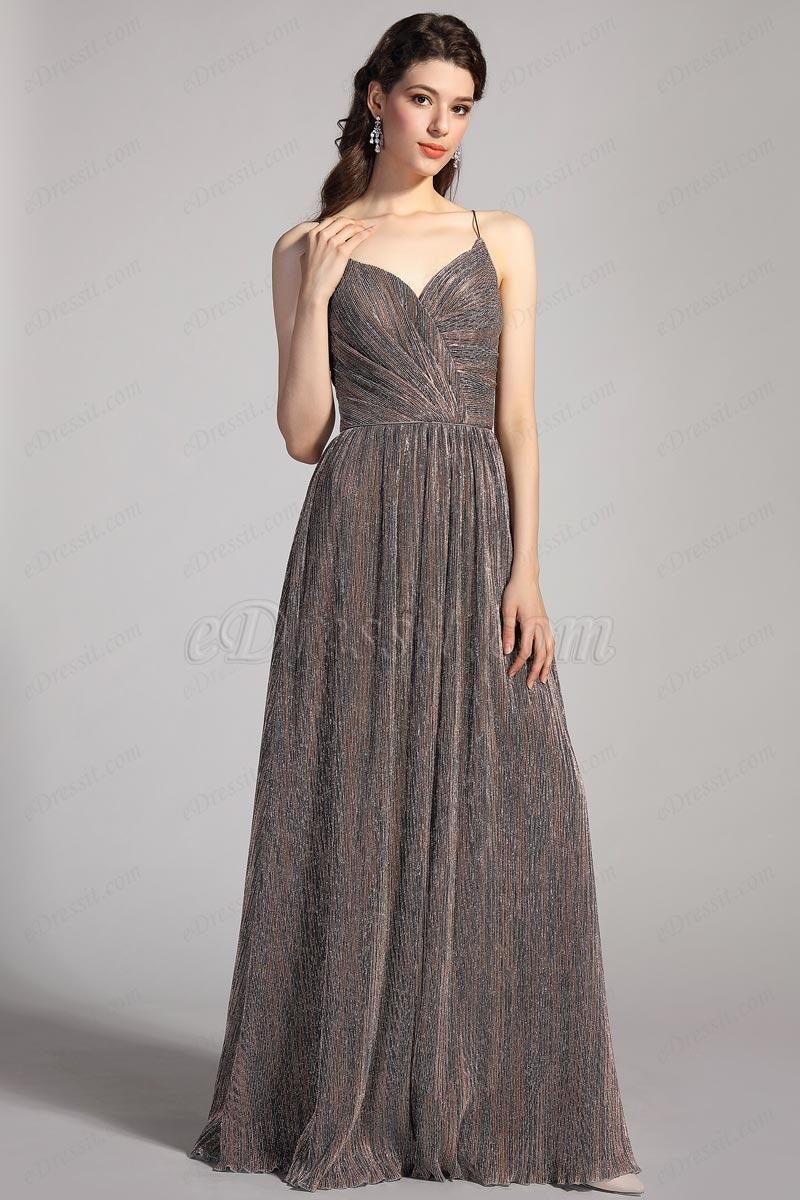 eDressit Sexy Spaghetti V-Cut Shiny Formal  Party Ball Gown (00205920)