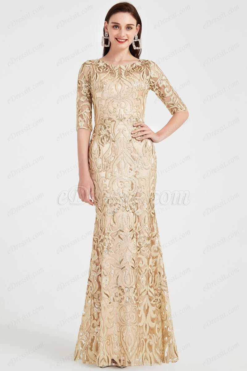 eDressit Gold Embroidery Lace Half Sleeves Party Ball Gown (02203424)