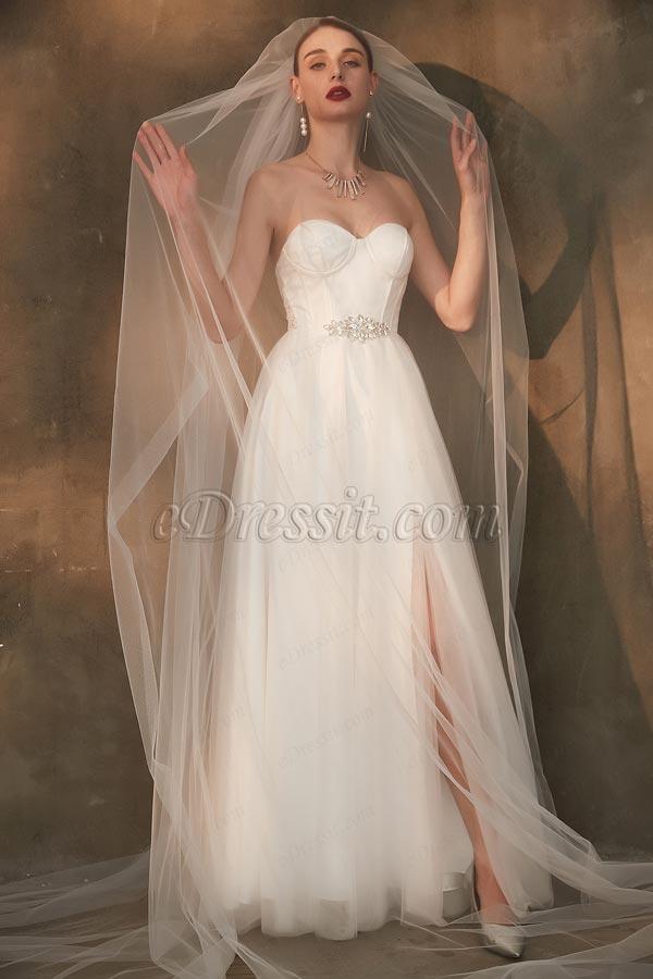 eDressit White Corset Sweetheart Slit Tulle Wedding Bridal Dress (01200807)