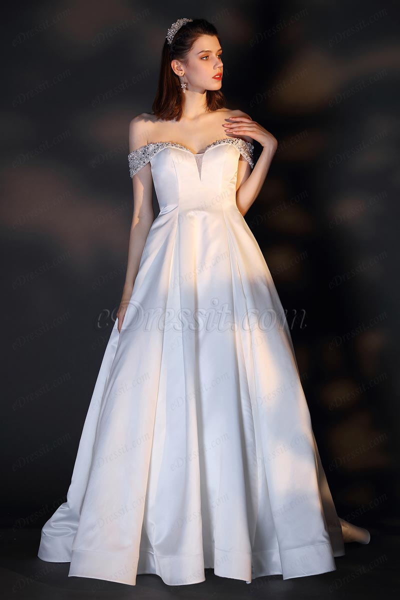 eDressit Sexy Off Shoulder V-Cut Beaded Wedding Bridal Dress (01201307)