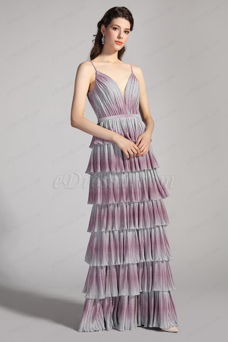 eDressit Sexy Gradient Colour V-Cut Spaghetti Party Cake Dress (00206256)