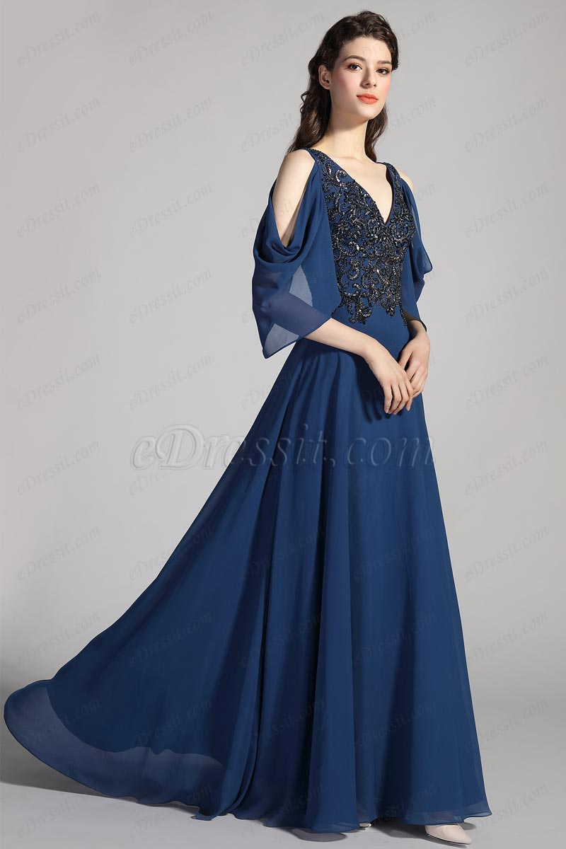 eDressit Blue V-Cut Unique Sleeves Embroidery Party Ball Dress (26201605)