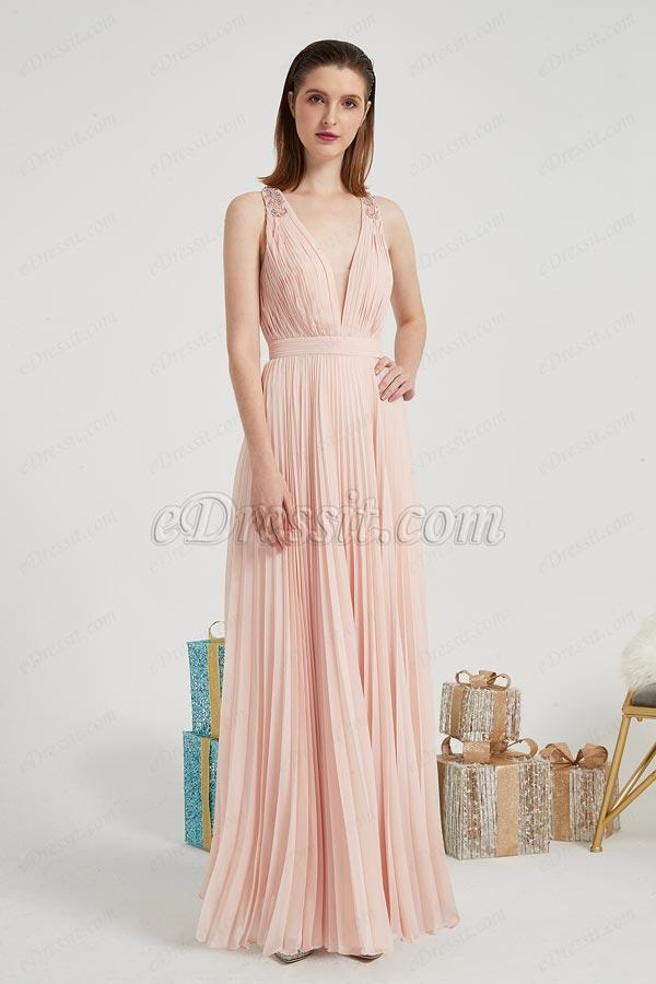 eDressit New Orange-Pink V-Cut Party Ball Evening Dress (02200701)
