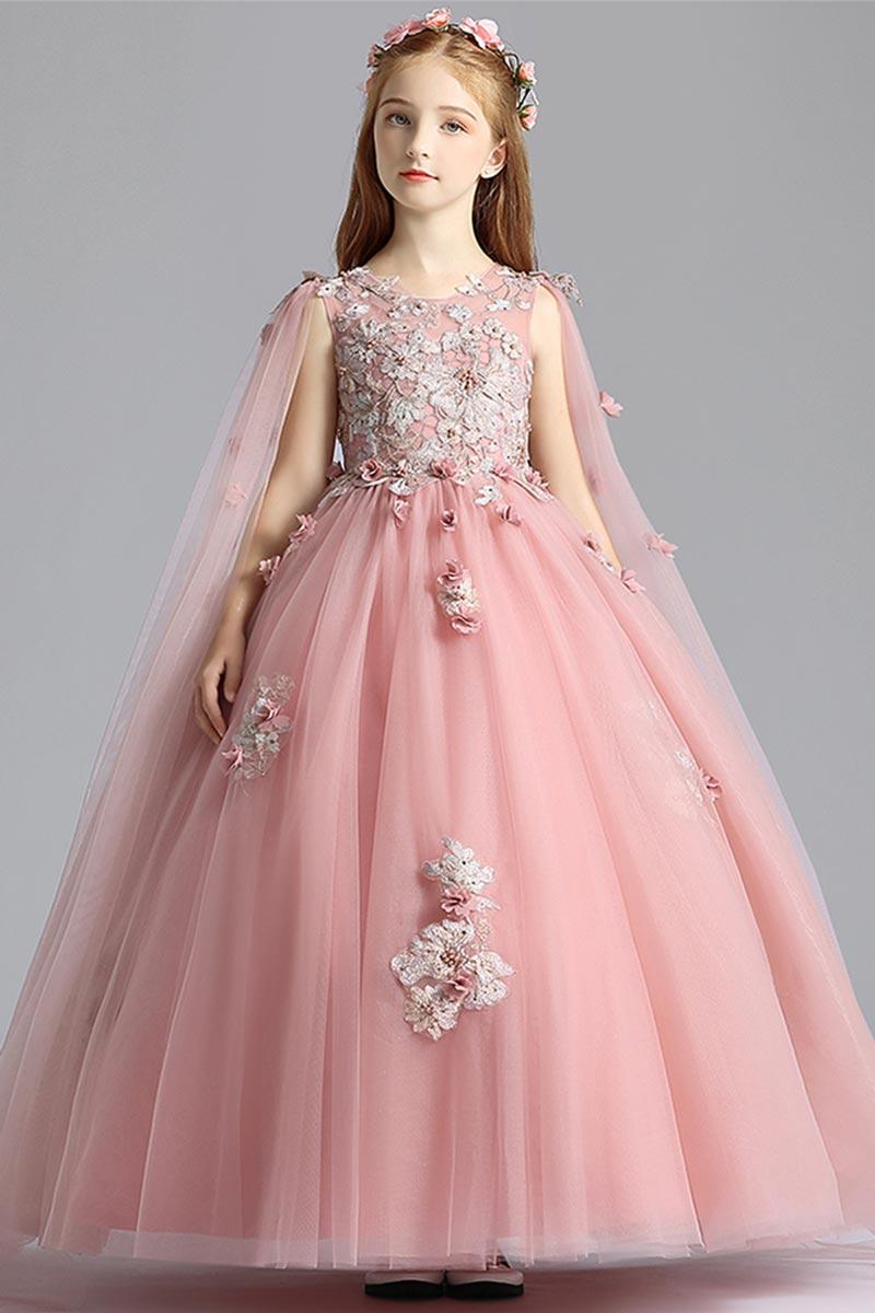 eDressit Rosa Lang Ärmel Spitze Tüll Blumenmädchen Kleid (27210101)