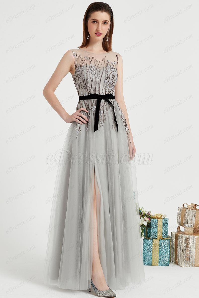 eDressit Grey Illusion Neck Embroidery Tulle Party Prom Gown (00201208)