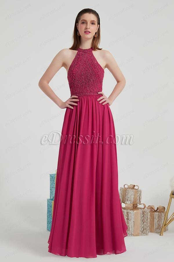eDressit Beaded Shiny Halter Chiffon Party Ball Dress (00204417)