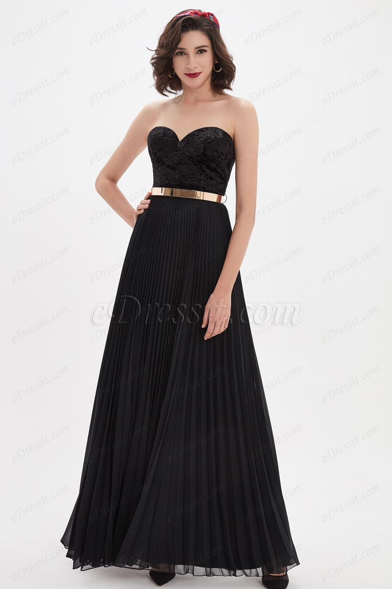 eDressit Black Sweetheart Velvet Corset Gold Belt Prom Party Dress (00210500)