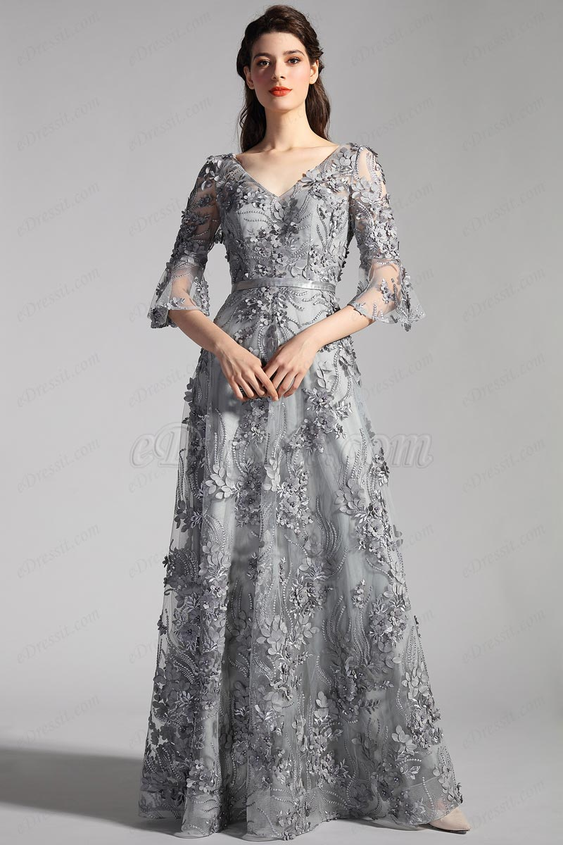 eDressit NEW Grey Sleeves Floral Fabric Evening Party Dress (26201808)