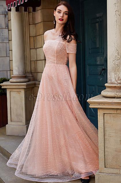 eDressit New Orange-Pink Off Shoulder Sequins Party Ball Dress (02201501)