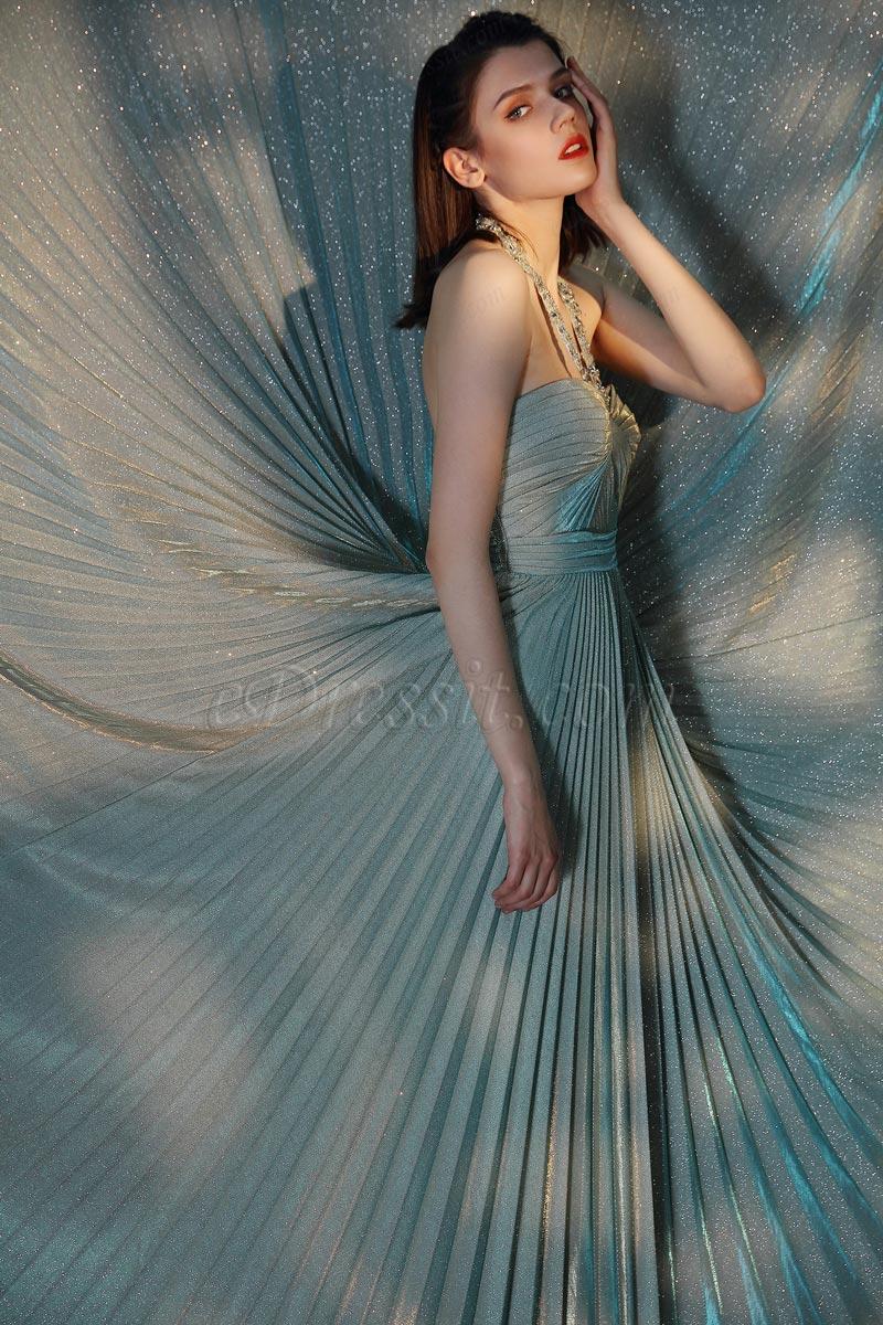 eDressit Shiny Green Halter Elegant Pleated Party Dress (00205304)